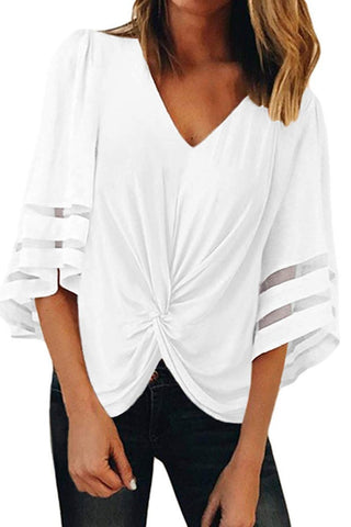 V-Neck Trumpet Sleeve Knotted Loose Top T-Shirts