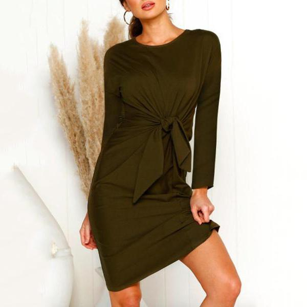 Solid Color Bow-Knot Mini Dress Army Green / S