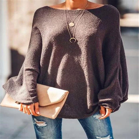 Womens Casual Boat Neck Long Sleeve Pure Color Loose Sweater