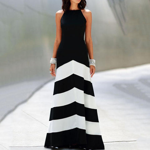[Free] Backless Color Block Wave Stripe Sleeveless Maxi Dresses Black / S Dress