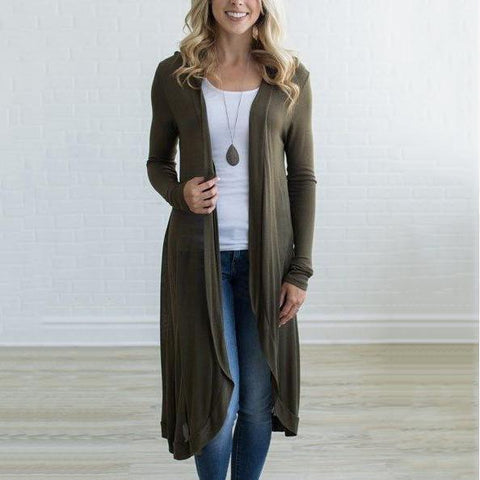 Collarless Plain Long Sleeve Cardigans Army Green / S