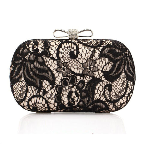Rhinestone Bowknot Black Lace Clutch Bag Gold / One Size