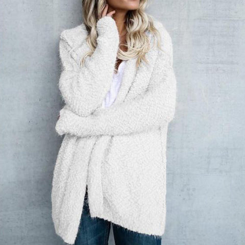 Hooded Long Sleeve Plain Cardigans White / S