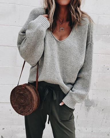 Solid Long Sleeve V-Neck Casual Sweater Gray / S Sweaters & Cardigans