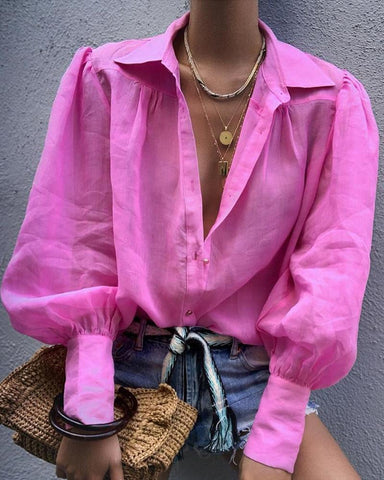 Solid Lantern Sleeve Casual Shirt Hot Pink / S Blouses & Shirts