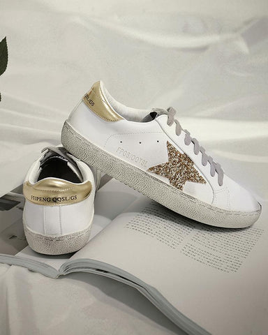Sequin Star Lace-Up Sneaker Gold / 34 Sneakers