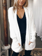 Mid-Length Cardigan Solid Color Plush Coat Outwear Cardigans