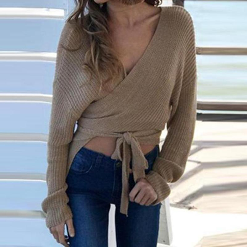 Fashion Elegant Casual Loose Plain Deep V Collar Long Sleeve Crop Sweater Same As Photo / One Size