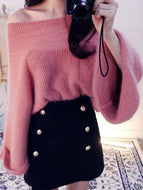 Fashion Pure Colour Off-Shoulder Sweater Pink / One Size Sweaters