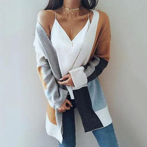 Color Block Ribbed Cardigan Detail / S Cardigans