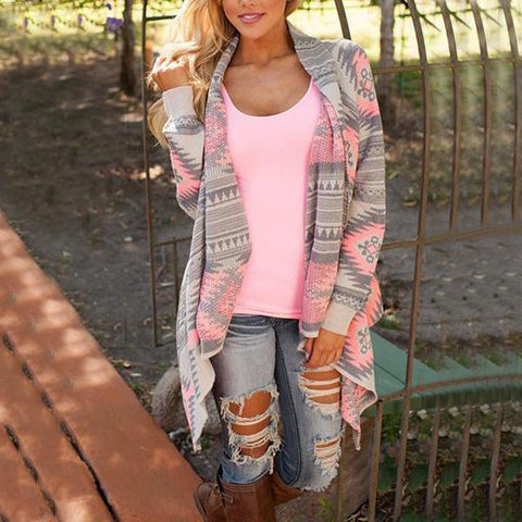 Printed Long Sleeve Cardigans Pink / S
