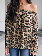 Leopard Printed Off Shoulder Flare Long Sleeve Sexy Blouses Shirts &