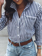 Fashion Long Sleeves Striped Shirt Blouse Shirts & Blouses