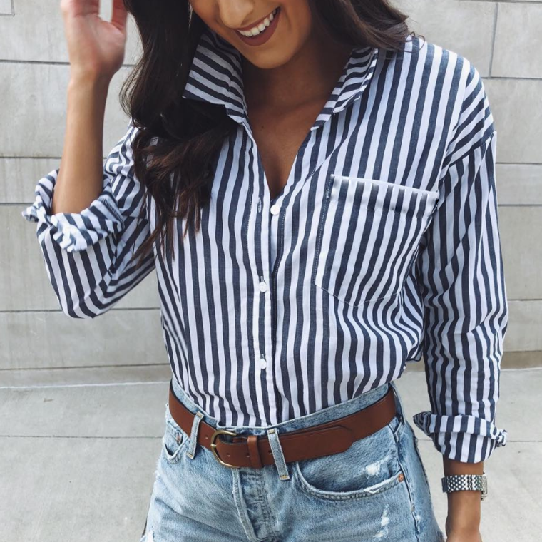 Fashion Long Sleeves Striped Shirt Blouse Blue / S Shirts & Blouses