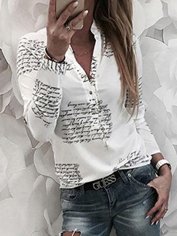 Turn Down Collar Single Breasted Letters Blouses Blouse
