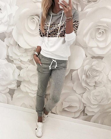 Leopard Print Insert Hooded Top & Pants Sets S / Gray