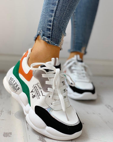 Colorblock Lace-Up Muffin Casual Sneakers Black / 38