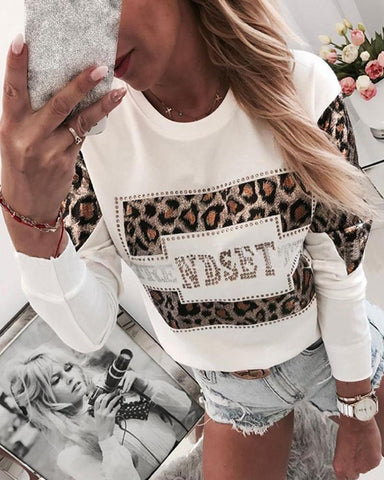 Leopard Print Rhinestone Embellished Detail Sweatshirt White / S Sweats & Hoodies