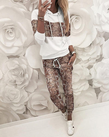 Snakeskin Hooded Sweatshirt & Pants Sets White / S Suit