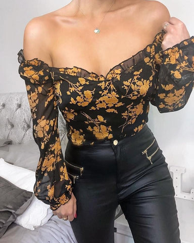 Off The Shoulder Floral Top Black / S Blouses & Shirts