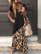 Womens Plus Size Casual Round Neck Splicing Print Round-Neck Printed Maxi Dress Black / S