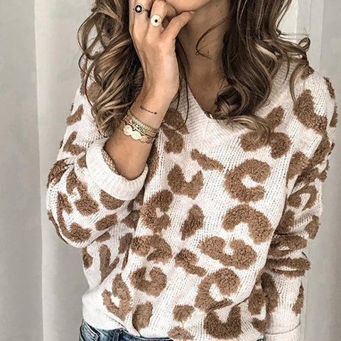 Womens Casual Deep V-Neck Long Sleeve Leopard Print Loose Sweater Cardigan