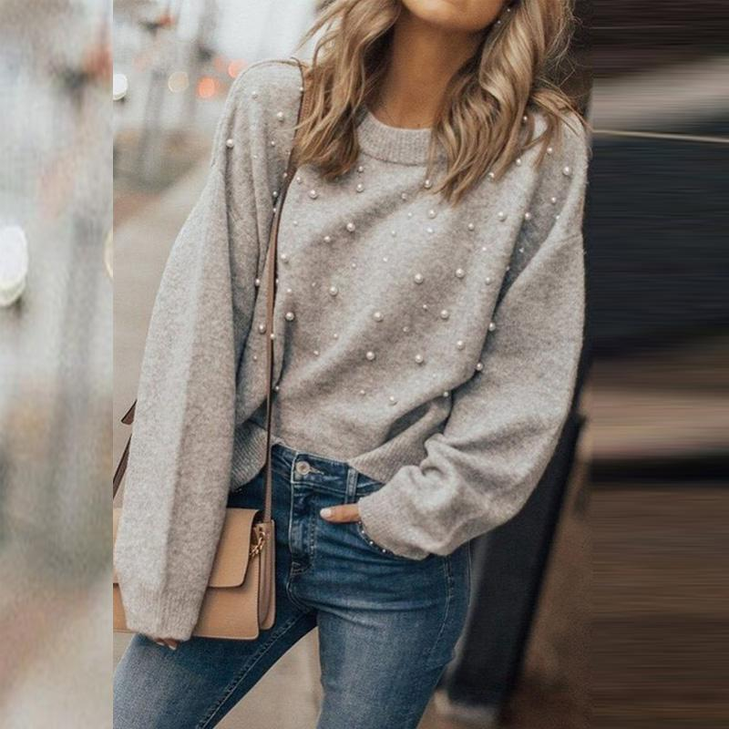 Round Neck Beading Plain Sweaters Gray / S