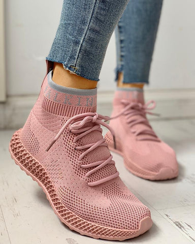 Net Surface Breathable Lace-Up Casual Sneakers Pink / 35