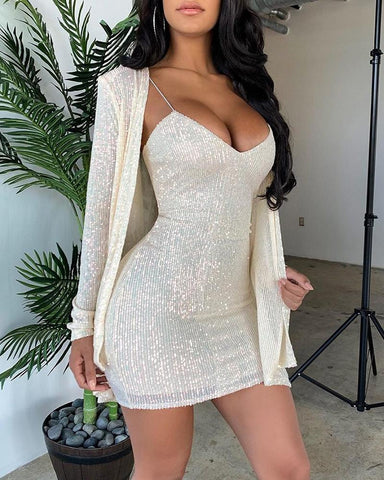 Sequined Blazer & Slip Dress Set Gold / S Suit Sets