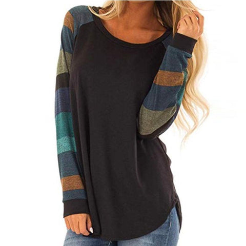 [Free] Round Neck Patchwork Stripes Long Sleeve T-Shirts Black / S Shirts & Blouses