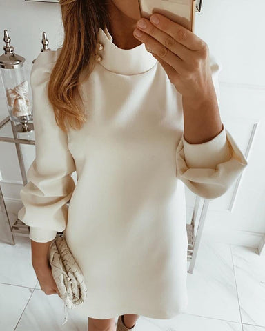 Solid High Neck Mini Dress White / L Dresses