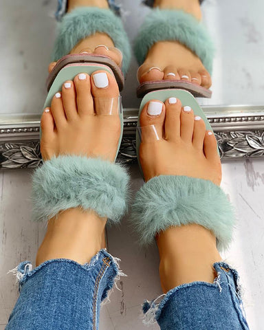 Toe Ring Fluffy Flat Slipper Sandals