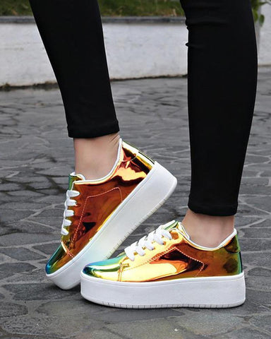 Reflective Lace-Up Platform Sneaker Gold / 40 Sneakers