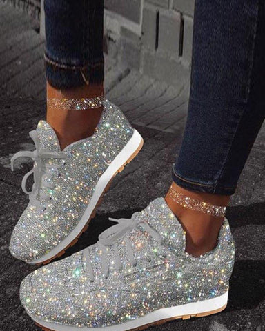 Solid Lace-Up Glitter Sneakers