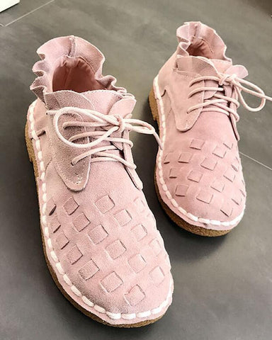 Ruffle Trim Lace-Up Sneakers Pink / 35