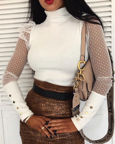 Mesh Patchwork Buttoned Cuff Blouse White / S Blouses & Shirts