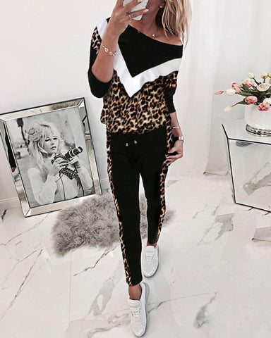 Leopard Colorblock Sweat&pants Sporty Set / S Suit Sets