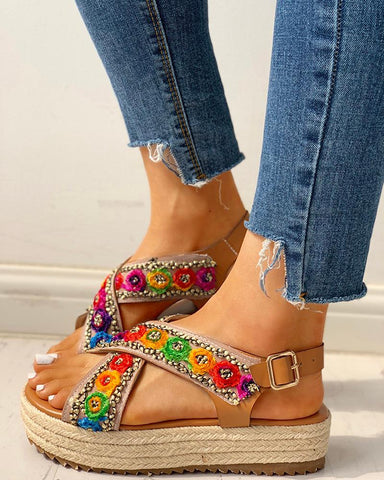 Colorblock Crisscross Espadrille Platform Sandals