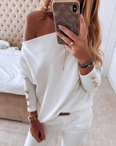 Solid Off Shoulder Buttoned Blouse White / S Blouses & Shirts
