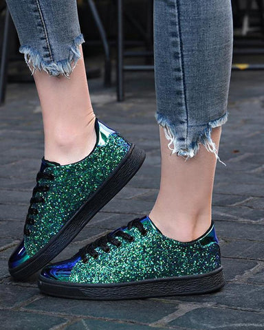 Deluxe Sequined Lace-Up Sneaker Green / 35 Sneakers