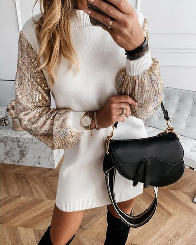 Lantern Sleeve Sequins Insert Dress White / S Long Sleeves Dresses