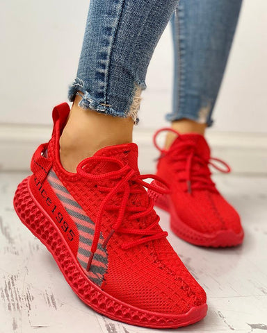 Lace-Up Breathable Casual Sneakers Red / 35