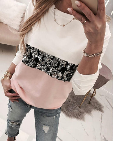 Round Neck Colorblock Insert Sequins Long Sleeve Sweatshirt Pink / S Sweats & Hoodies