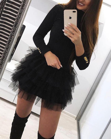 Solid Organza Spliced Mini Dress Black / S Dresses