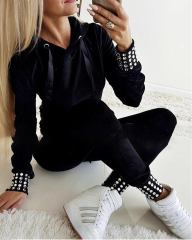 Hot Stamping Hooded Drawstring Top & Pants Sets Black / S Suit