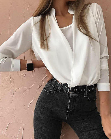 Solid Fake Two Piece Long Sleeve Blouse