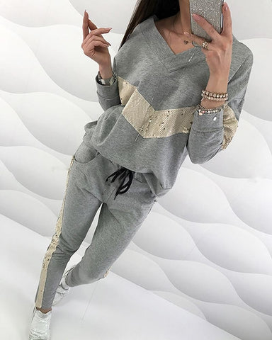 Sequins V-Neck Top & Drawstring Design Pant Sets Gray / S Suit