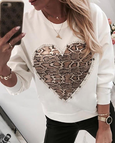 Heart Pattern Snakeskin Print Round Neck Casual Sweatshirt White / S Sweats & Hoodies