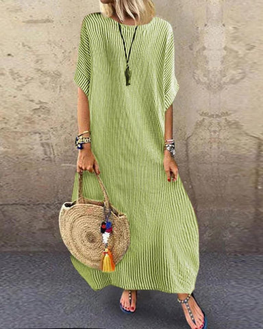 [Free] Striped Half Sleeve Loose Maxi Dress Casual Dresses