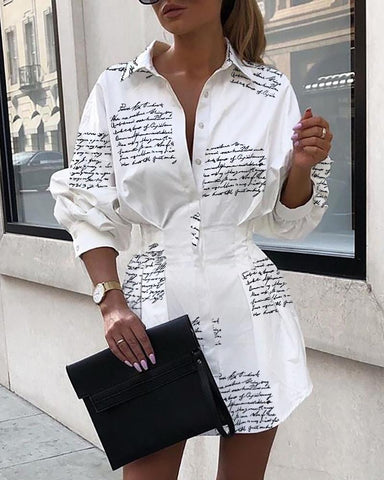 Letter Print Tight Waist Shirt Dress White / Xl Casual Dresses